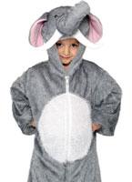 Éléphant en peluche Costume velours blanc gris Animaux Costume Enfant