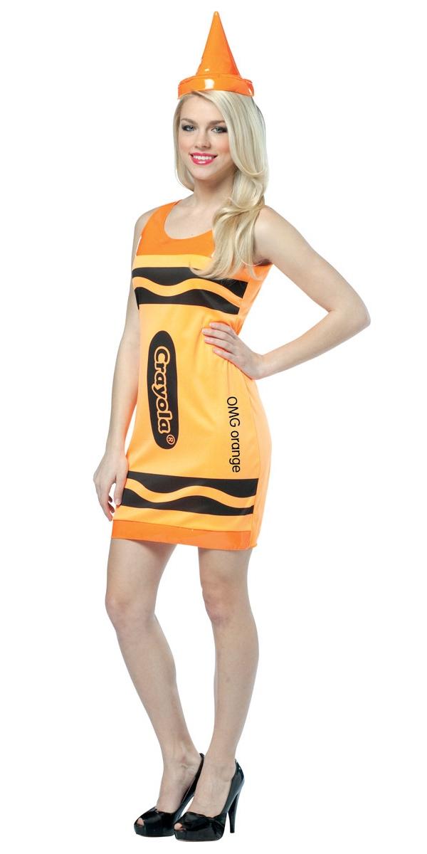 Costume Fantaisie Crayola Crayons Neon Orange Tank robe Costume