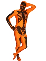 Morphsuit squelette Orange Seconde Peau