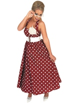 Jour rouge 1950 robe Costume Costume Années 1950