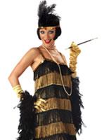 Temps jazz miel Costume noir et or Deguisement cabaret