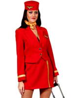 80 ' s Air vierge hôtesse Costume rouge Costume hotesse