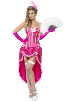 Costume de danseuse Burlesque rose Moulin Rouge