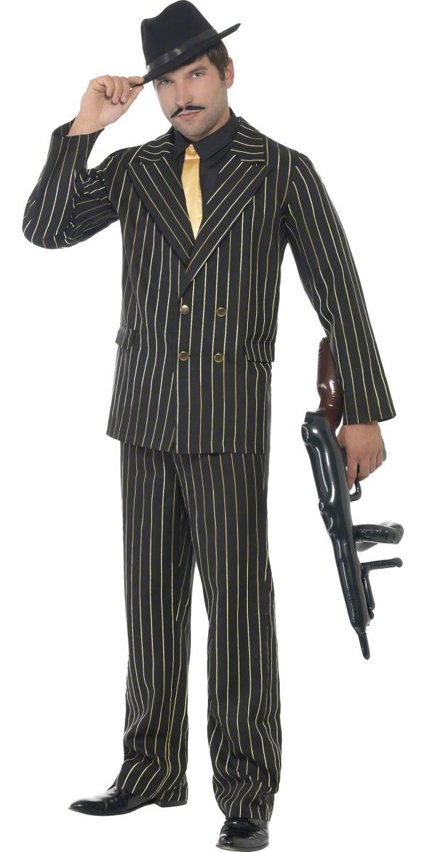 Costume de Gangster Costume Gangster Pinstripe or