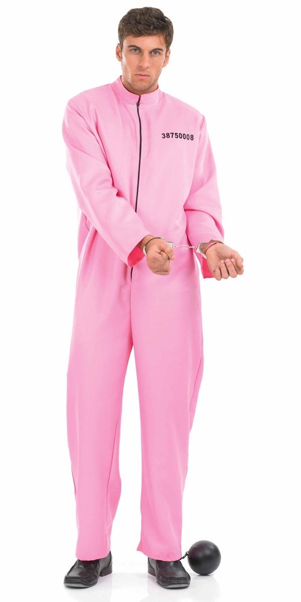 Déguisement Policier Costume masculin prisonnier rose