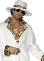 Blanc et peau de léopard Pimp Costume Déguisement proxénète