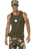Mens kaki camouflage armée Costume Costumes de soldat