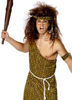 Homme des cavernes Costume velours imprimé brun Homme des cavernes