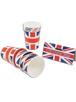 Gobelets en papier Union Jack (pack de 8) Déguisement Britannique