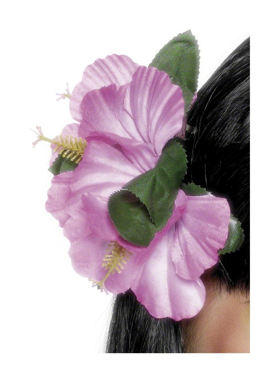 Déguisement Hawaï Fleur hawaïenne cheveux Clip rose