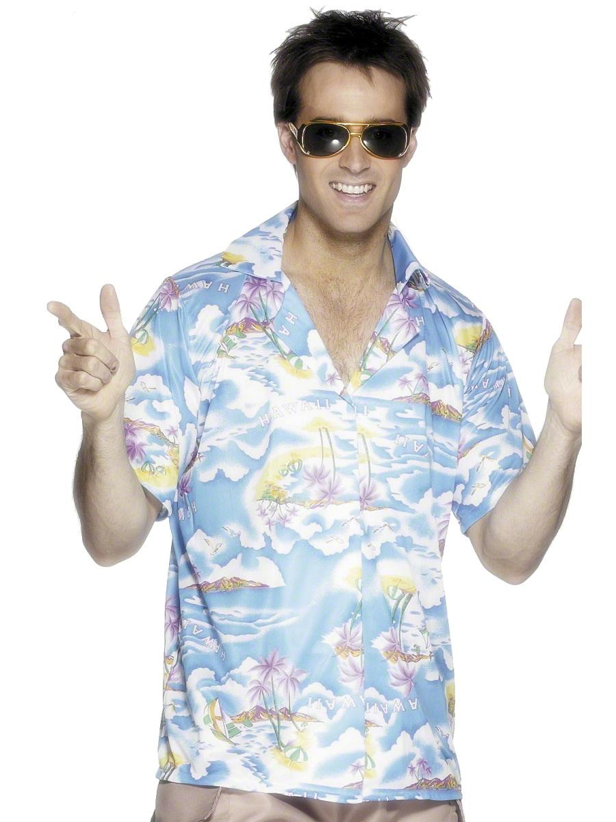 Déguisement Hawaï Chemise hawaïenne bleu