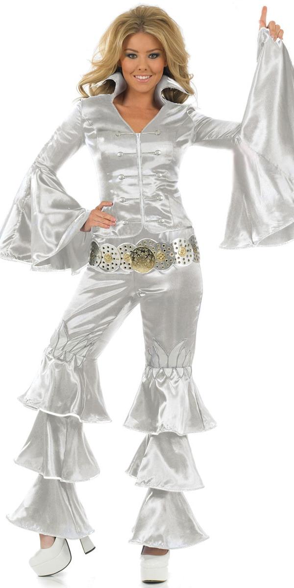 Disco Deguisement Femme Costume de reine dansante argent