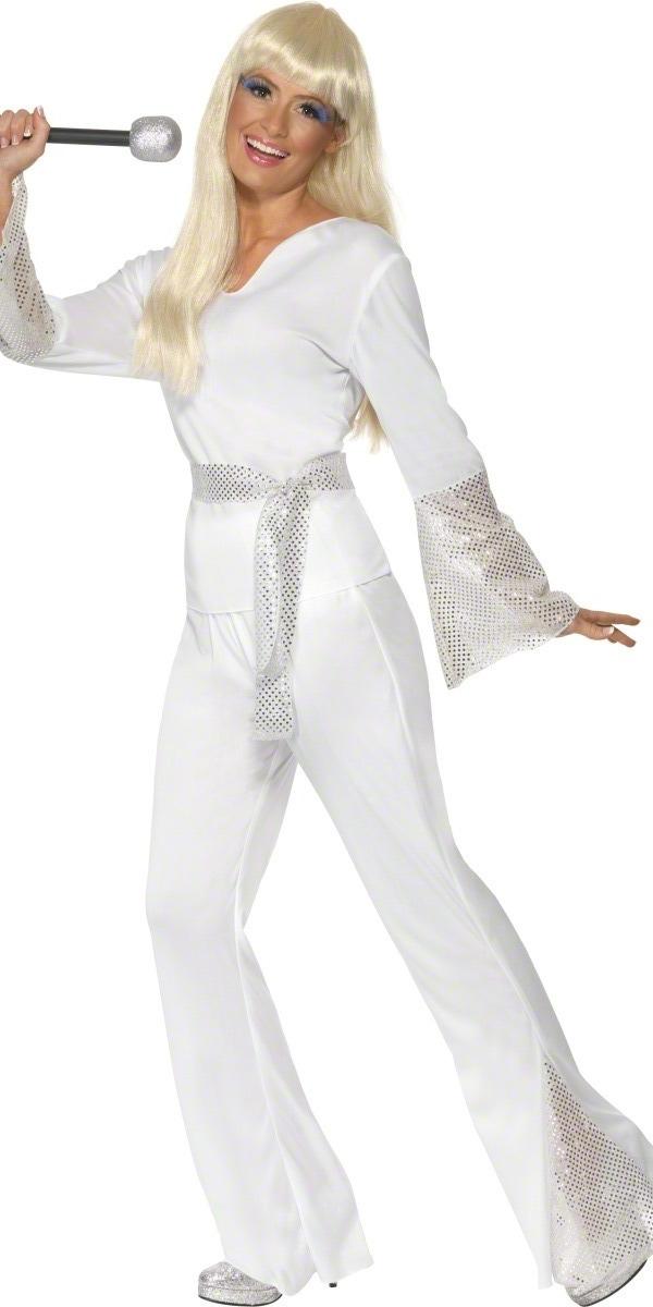 Disco Deguisement Femme 70 s disco Mesdames Costume blanc argent