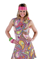 70 ' s Paisley aller aller robe Disco Deguisement Femme