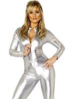 Catsuit de 70 ' s Costume argent Disco Deguisement Femme