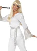 70 s disco Mesdames Costume blanc argent Disco Deguisement Femme