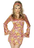 70 s psychedelic Costume rose jaune Disco Deguisement Femme