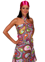 70 ' s Paisley aller aller Halter Dress Disco Deguisement Femme