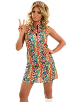 Costume Hippie Floral UV Disco Deguisement Femme