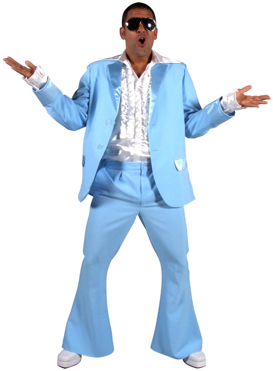 Disco Déguisement Homme 70 ' s Mens costume bleu clair