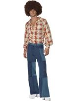 70 ' s Look Denim Patchwork Mens évasés pantalon Disco Déguisement Homme