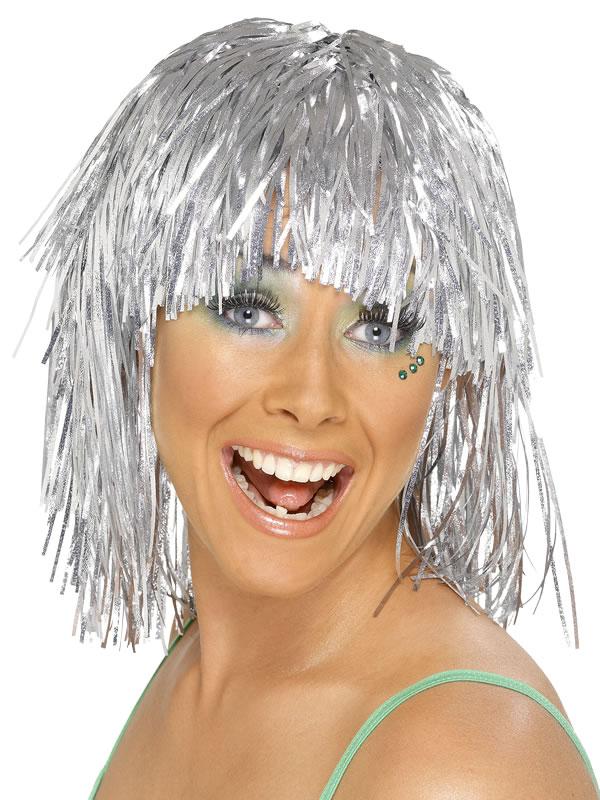 Perruque Disco Cyber Tinsel perruque argent métallique