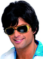 70 ' s Shag perruque noir Perruque Disco