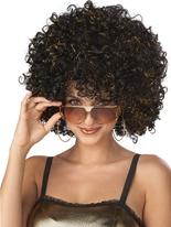 Superbe perruque Disco Glitter noir et or Perruque Disco