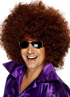 Méga énorme perruque Afro brun Perruque Disco