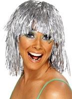 Cyber Tinsel perruque argent métallique Perruque Disco