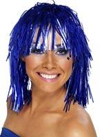 Cyber Tinsel perruque bleu métallique Perruque Disco
