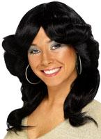 70 ' s Long Black perruque ondulée Flick en couches Perruque Disco