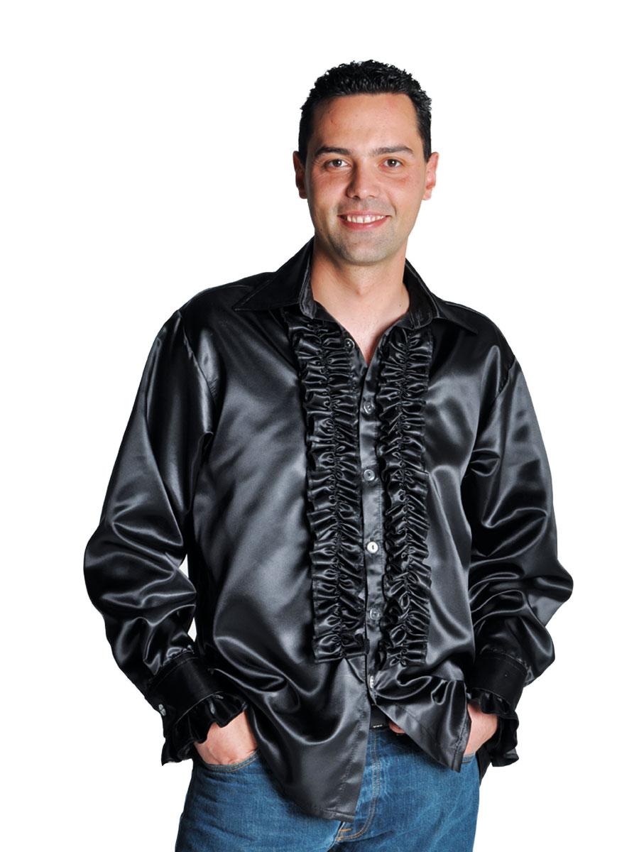 Vêtement Disco 70 ' s Mens chemise en Satin noir