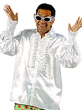 Vêtement Disco 70 ' s Mens chemise en Satin blanc