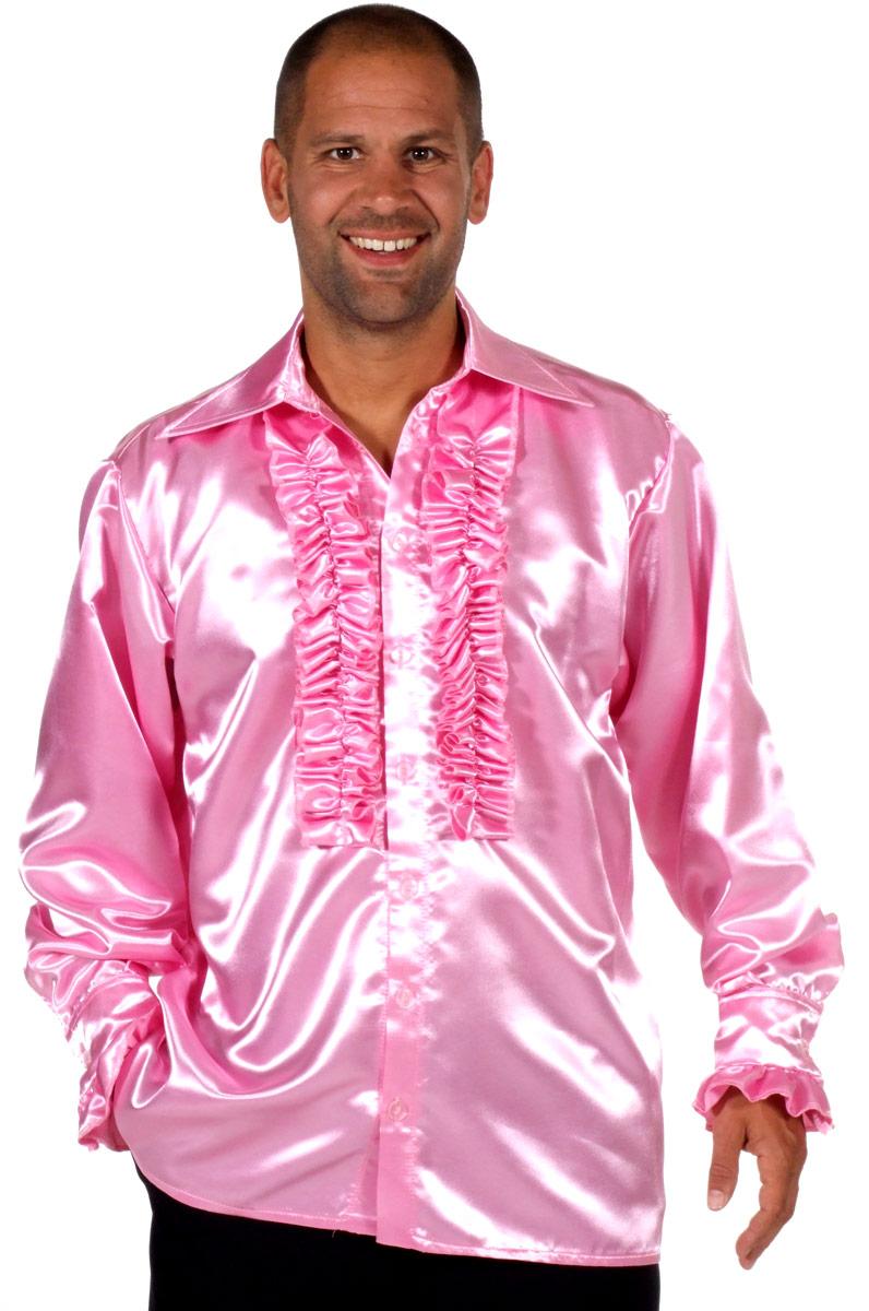 Vêtement Disco 70 ' s Mens chemise en Satin rose