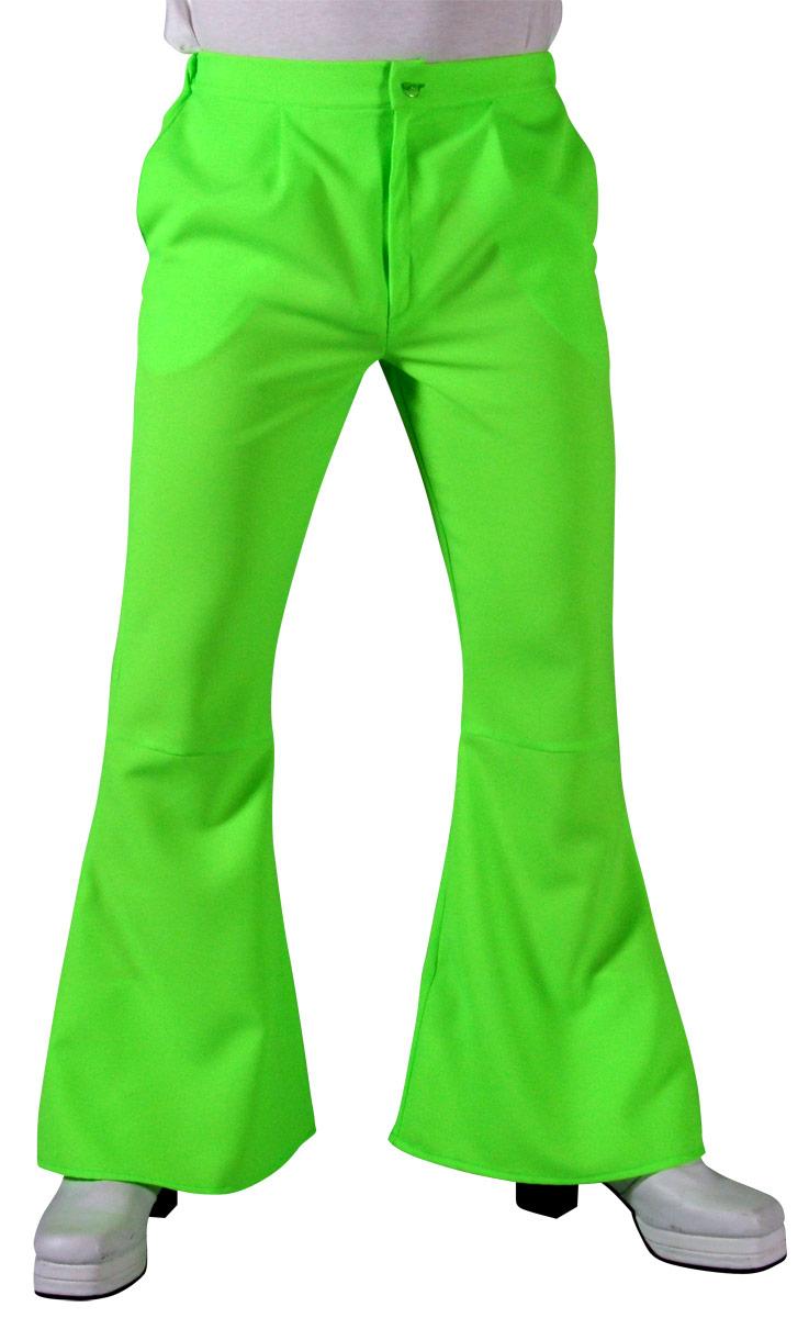 Vêtement Disco 70 s Mens évasés pantalon vert clair