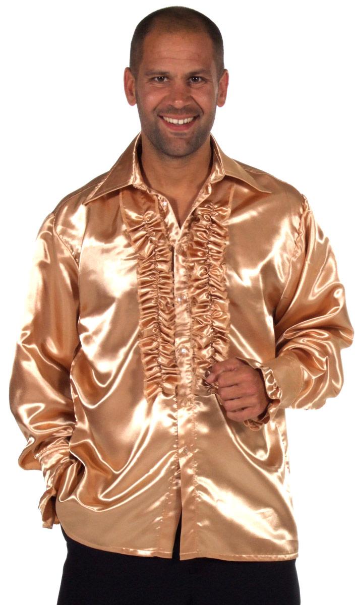Vêtement Disco 70 ' s Mens chemise en Satin Champagne