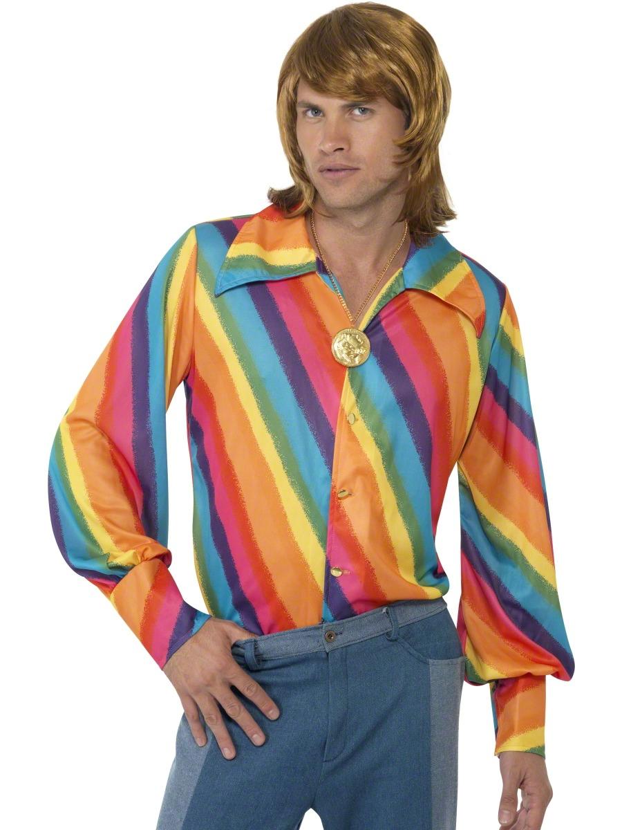 Vêtement Disco années 70 chemise de couleur arc-en-ciel