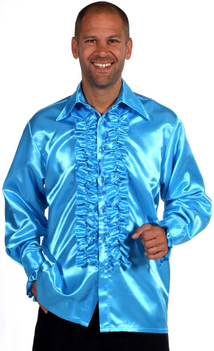 Vêtement Disco Chemise en Satin Mens Frill AQUA