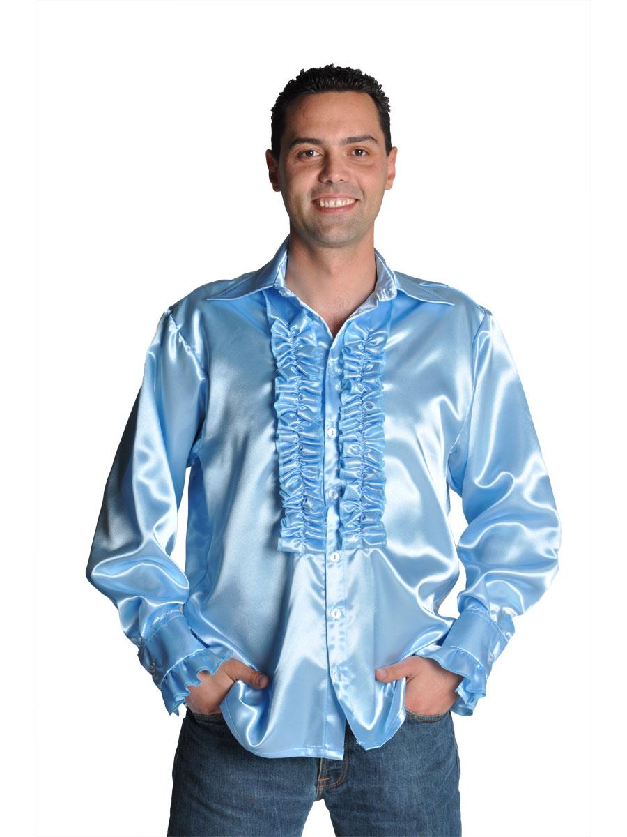Vêtement Disco 70 ' s Mens chemise en Satin bleu clair
