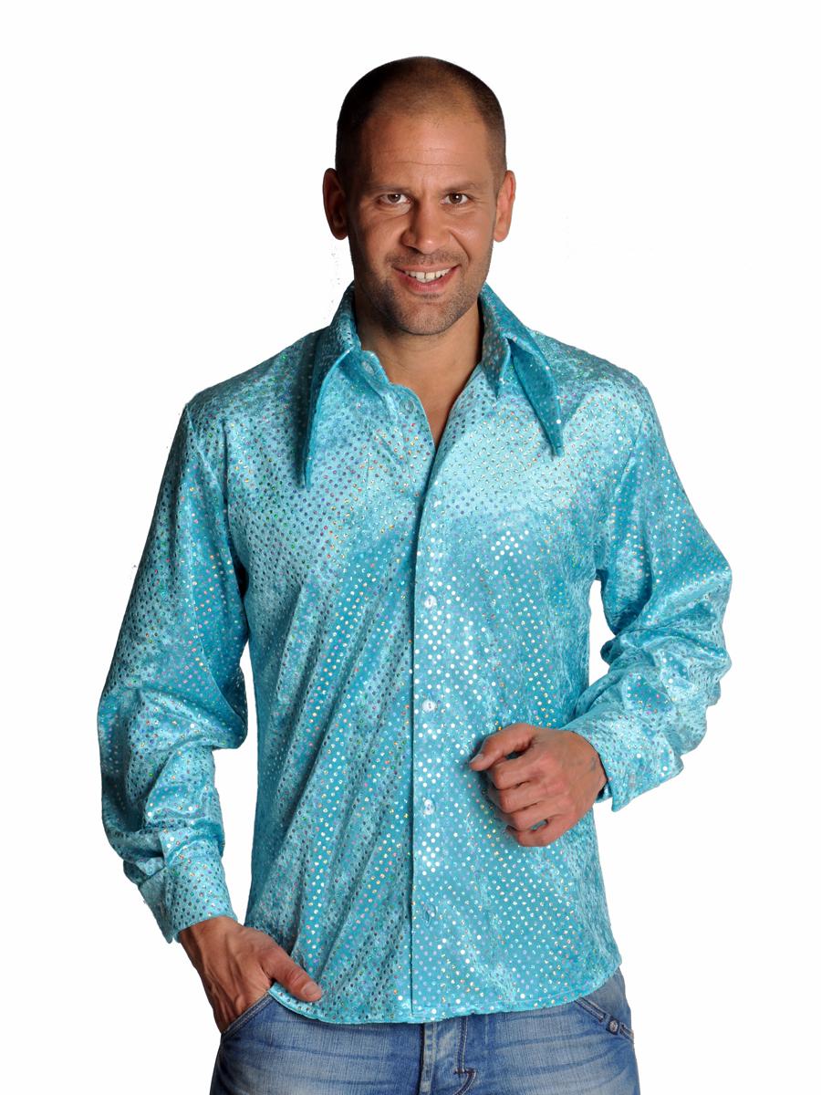 Vêtement Disco Chemise bleu pailleté Mens Disco