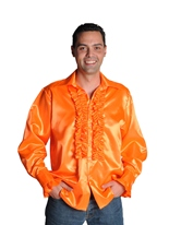 70 ' s Mens chemise en Satin Orange Vêtement Disco