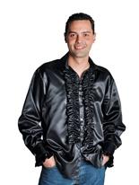 70 ' s Mens chemise en Satin noir Vêtement Disco