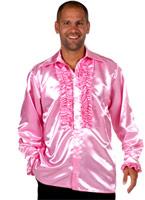 70 ' s Mens chemise en Satin rose Vêtement Disco