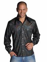 Chemise noir pailleté Mens Disco Vêtement Disco