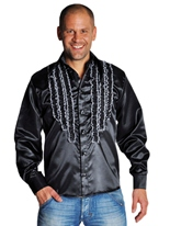 70 ' s Mens à jabot chemise en Satin noir Vêtement Disco