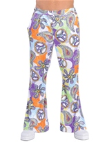 70 ' s Cool Mens Print évasés pantalon Vêtement Disco