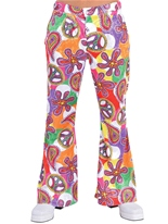 70 ' s Fun Mens Print évasés pantalon Vêtement Disco