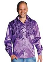 70 ' s Mens à jabot chemise en Satin violet Vêtement Disco