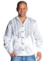 70 ' s Mens à jabot chemise en Satin blanc Vêtement Disco